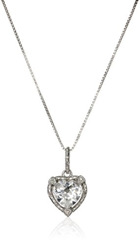 Lavari - 2.20 Ct Heart White Topaz Diamond Sterling Silver Pendant 18