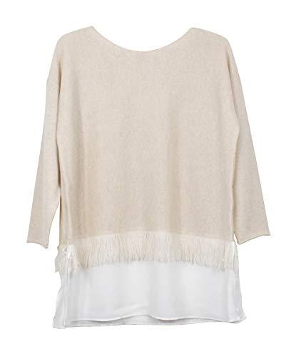 Tyler Boe Fog Cashmere Fringe Sweater