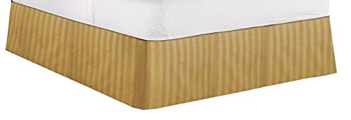 "Greatest A's Real Regular Fabric Split Corner Bed Skirt / Dust Ruffle/Valance KING Size Stripe Gold 18"" inches Drop Egyptian Cotton Quality Wrinkle & Fade Resistant Bed skirt."