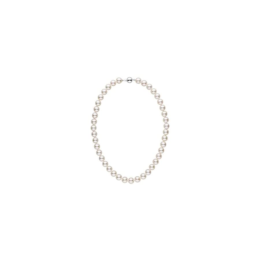 9.0 9.5 mm 16 Inch AA+ White Akoya Cultured Pearl Necklace