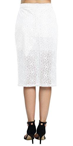 Blanc Taille Femme Dentelle Jupe lgant Urban GoCo Jupe Crayon Haute Droite FWqp7xfS