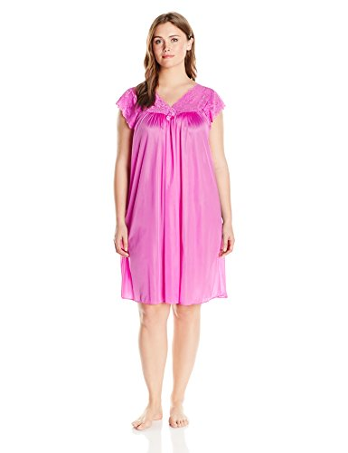 Gown Waltz Length (Shadowline Women's Plus Size Silhouette 40 inch Short Cap Sleeve Waltz Gown, Flamingo Pink, 3X)