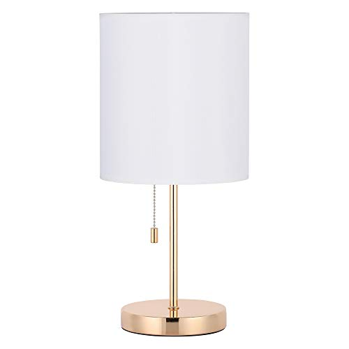 HAITRAL Nightstand Table Lamp - Bedside Lamp, Modern Desk Lamp for Bedroom, Office, College Dorm with Metal Base Fabric Lamp Shade - Gold (Base White Table Lamp)
