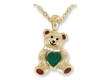 Teddy Bear Birthstone Necklace -AUGUST - faux PERIDOT