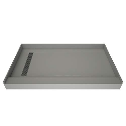 "Tile Redi USA RT3060L-PVC-SQBN Trench Shower Pan, 60"" W x 30"" D, Brushed Nickel"