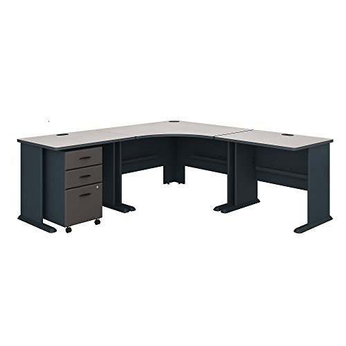(Bush Business Furniture Series A 84W x 84D Corner Desk with Mobile File Cabinet in Slate and White Spectrum)