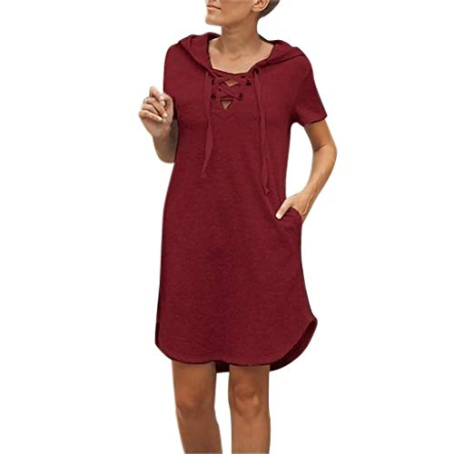 - Shiretel Women's Short Sleeve V-Neck Dress Ladies Summer Fashion Hoodie Pockets Mini Rope Solid Color Casual Dress