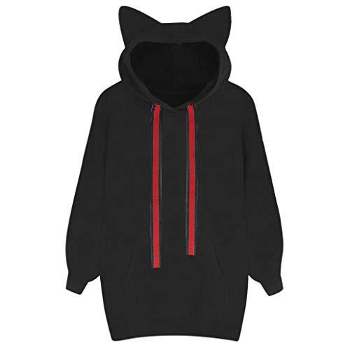 Fiaya Women's Cat Ears Hoodie Long Sleeve Hooded Sweatshirt Pullover Crop Tops Blouse (Black, L)