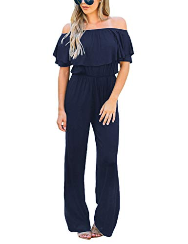 (LookbookStore Women's Sexy Off Shoulder High Waisted Ruffled Long Wide Leg Pants Navy Jumpsuits Rompers Size XL)