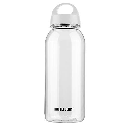 BOTTLED JOY 1L Water Bottle Sports Water Bottle Water Bottle with Handle Bpa Free Clear Water Bottle Dishwasher Safe Tritan Wide Mouth Water Bottle Cycling Gym Outdoor Camping Bicycle (Handle-Grey)