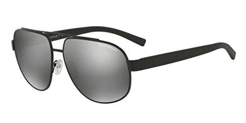 Armani Exchange Mens Sunglasses (AX2019) Black Matte/Silver Metal - Non-Polarized - 60mm