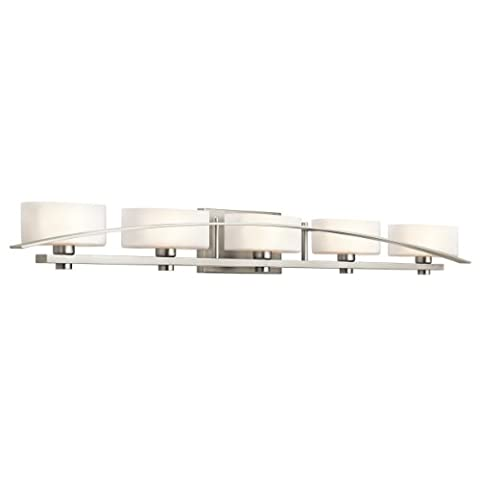 Kichler Lighting 45319NI Suspension 5-Light Vanity Fixture, Brushed Nickel Finish with Satin Etched Cased Opal Glass - Etched Opal Glass Shade