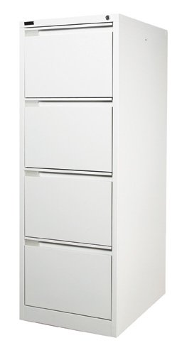 4 Drawer White Steel Filing Cabinet 62D X 47W X 132H (cm)