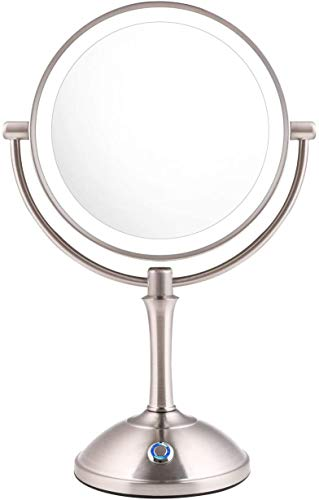 AmnoAmno LED Makeup Mirror-10x Magnifying,7.8″ Double Sided Lighted Vanity Makeup Mirror with Stand, Touch Button Adjustable Light-Cord or Cordless (sliver)