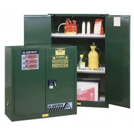 JUSTRITE MANUFACTURING 896004 Green 18 Gauge CR Steel Sure-Grip EX Pesticides Safety Cabinet with 2 Manual-Close Door, 60 gal Capacity, 34