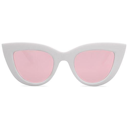 SOJOS Retro Vintage Cateye Sunglasses for Women Plastic Frame Mirrored Lens SJ2939 with White Frame/Pink Mirrored Lens