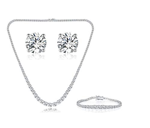 Tennis White Earrings - GEMSME 18K White Gold Plated Graduated Round Cubic Zirconia Tennis Necklace/Bracelet/Earrings Sets Pack of 3