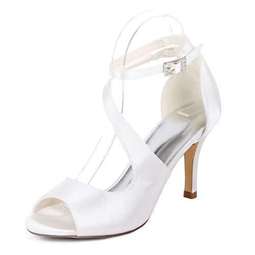 L Novia Marfil Baja Boda De yc Altos Tacones Zapatos White Flor 6cm Redonda 42 Punta Para Mujeres 35 Tacón q7qr6w