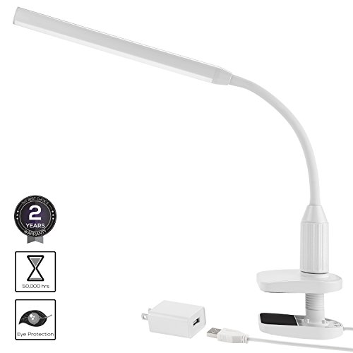 Torchstar 24 LEDs Dimmable Flexible Gooseneck Clamp Desk Lamp Eye-Care Touch Sensitive 5W Light, Memory Function, USB Charger + Power Adapter, 50000 hours Lifespan & 2 Years Warranty (White) - Desk Clamp Base