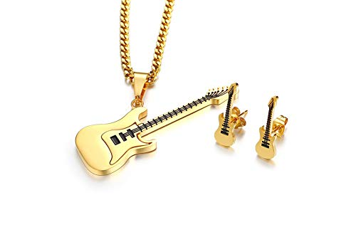 (MPRAINBOW Unisex Stainless Steel Guitar Necklace Guitar Stud Earring Jewelry Set Musical Instrument Jewelry Set)