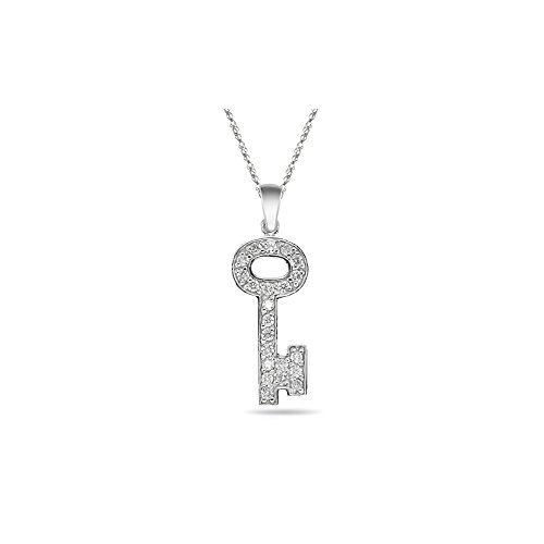 0.40-0.44 Cts SI2 - I1 clarity and I-J color Diamond Key Pendant in 14K White ()