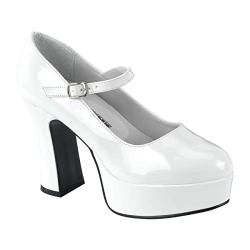 Funtasma by Pleaser Women's Platform Mary Jane,White Patent,8 M