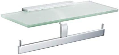 S2F5 トイレットペーパーホルダーは、掘削スペースアルミ防水浴室のティッシュボックスのガラスの携帯電話がないとウォールマウント型ダブルロール紙タオルホルダーラック (Color : Silver)