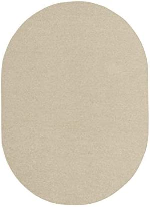 Ambiant Broadway Collection Pet Friendly Area Rug Off-White – 9 x12 Oval with Non Slip Backing