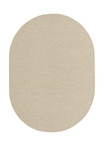 American Bright Solid Color Area Rugs Off White – 5 x8 Oval with Non Slip Backing