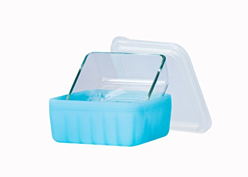 Frego Award-Winning Plastic-Free Glass and Silicone Food Container | 2 Cups | Blue