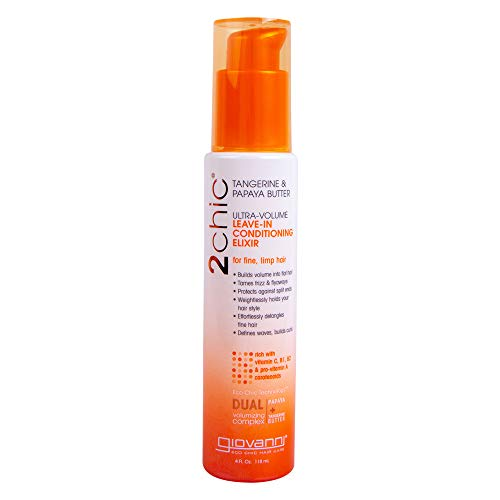 Giovanni 2chic Ultra-Volume Leave-In Conditioning Elixir with Tangerine and Papaya Butter, 4 Fluid Ounce