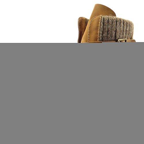 Sopily - Scarpe da Moda Stivaletti - Scarponcini rangers donna multi-briglia Tacco a blocco 3 CM - Cammello