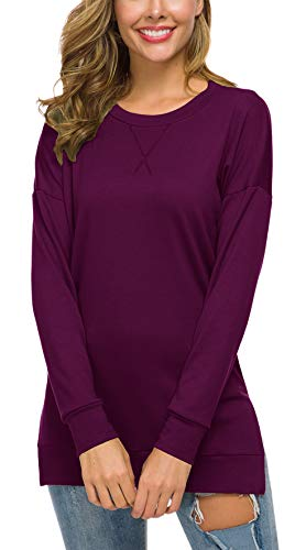 GSVIBK Womens Loose Pullover Tunics Fall Long Sleeve Casual Tops Soft Blouse Shirts Tunics 226 Fuchsia XL ()