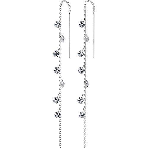 ANDANTINO S925 Sterling Silver Threader Earrings for Women with Rose Gold Black Zirconia/Circle Drops Long Dangle Ear Lines- Jewelry Gift for Girls (CZ Ear Threads)
