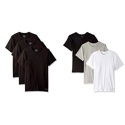 (Calvin Klein Men's Cotton Classics Short Sleeve Crew Neck T-Shirt, Black, Small and  Black/Grey/White, Small)