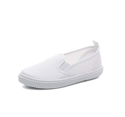Je-Gou Boy's Girl's Classic Canvas Slip On Fashion Sneaker Skate Tennis Shoes (12 M US Little Kid, White)