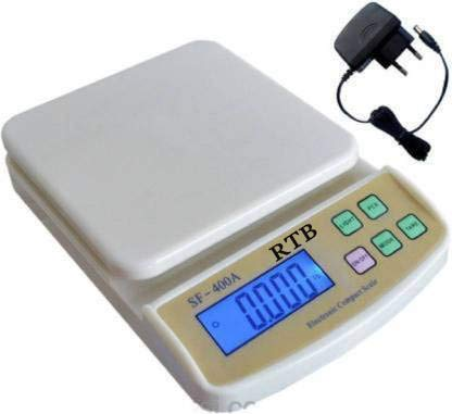 RTB Electronic Kitchen Digital Weighing Scale with Tare Function with Adaptor (10 Kg-SF 400A) – White