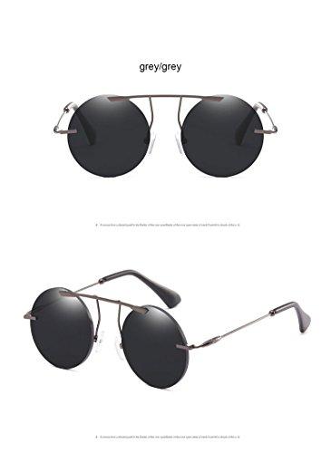 Ronde Eyewear en Retro ZHANGYUSEN Fframe Classique Lunettes Luxe de Steampunk de Soleil Vintage grey Métal Hommes Femmes grey C5ZqZw