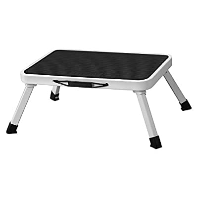 URCERI Folding Steel Step Stool with Non-Skid Plastic Platform Portable Lightweight One Step Ladder with Built-in Handle and Max Load 330 lbs. for Adults Seniors Kids to use at Home Bathroom Kitchen