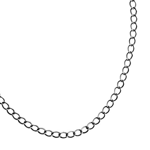 American West Sterling Silver Curb Link Chain Necklace, 18 Inch (Oxidized Silver Curb Chain)