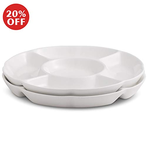 Chip & Dip Serving Set Porcelain Divided Serving Platter/Tray Perfect for Snack 9.4-inch White Dish, Set of 2 (9.4inch) (Chip And Dip Platter)