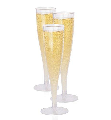 Oasis Creations Premium Hard Plastic Champagne Flute glasses Set - 10 5.7 Oz Clear Stem Cups - Top Quality Birthday Party, Wedding Reception & Other Celebration Supplies