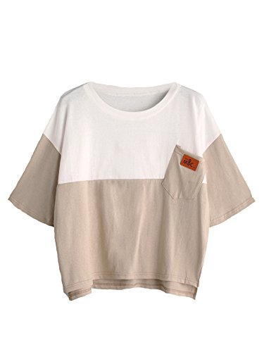 SweatyRocks Women's Color Block Half Sleeve High Low Casual Loose T-shirt Tops Apricot White One Size