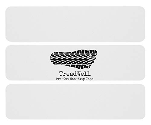 Treadwell Grit-Free Pre-Cut Safety Tape Prevents Slips and Falls Large 6 x 24 Clear Comfort Adhesive Non-Slip Stair Treads Non-Abrasive 10-Pack.