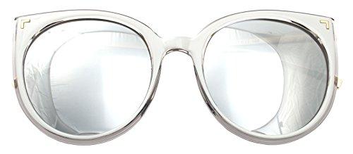 Women Oversized Cat Eye Sunglasses Eyewear (White Frame/Silver Mirrored Lens 80225)