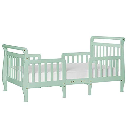 Dream On Me Emma 3 in 1 Convertible Toddler Bed, Mint with Spring Crib and Toddler Bed Mattress, Twilight