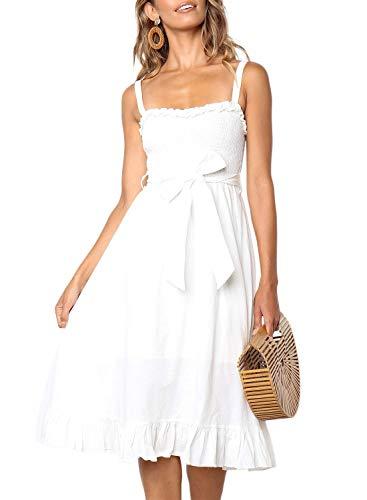 ZESICA Women's Bohemian Spaghetti Strap Floral Printed Tie Waist Backless Beach Swing Midi Dress with Pockets Ivory