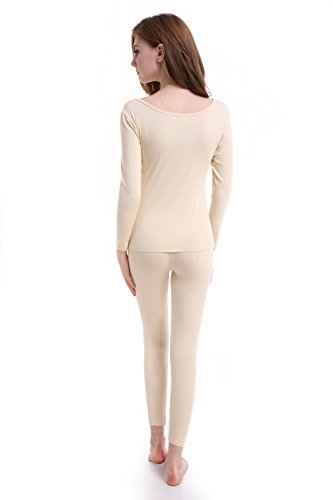 Women Long Johns Crew Neck Thermal Underwear Thin Lightweight Base Layer Set by CnlanRow (Image #5)