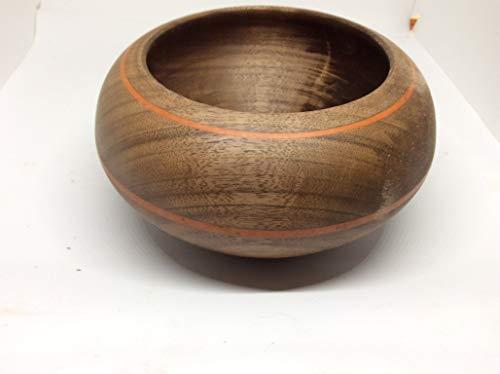 Walnut bowl inlayed with decorative stripes