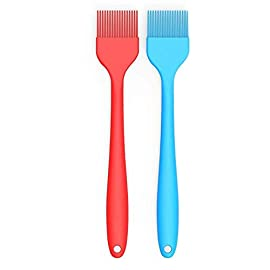 Verigle Silicone Basting Brush Heat Resistant Food Grade for for BBQ Grill Barbecue Baking Kitchen Cooking, 8.3 inch, Red&Blue 61 【SAFE】Brush surface coated with high quality food grade silicone, FDA approved, does not contain BPA.Pastry brush resistance temperature to 446 ℉ (230 ℃.So you can apply food, even when grilling and brushing won't melt or shrink. 【GREAT EXPERIENCE】the multi-layer silicone bristles have gaps in the center to better hold the liquid as it moves from the bowl to the food. 【SEAMLESS DESIGN】Unlike other bristles, silicone bristles do not break or fall off in food.Specially designed to avoid the brush head from falling off or becoming loose when applied.Silicone brushes do not stick to bacteria.No stains.